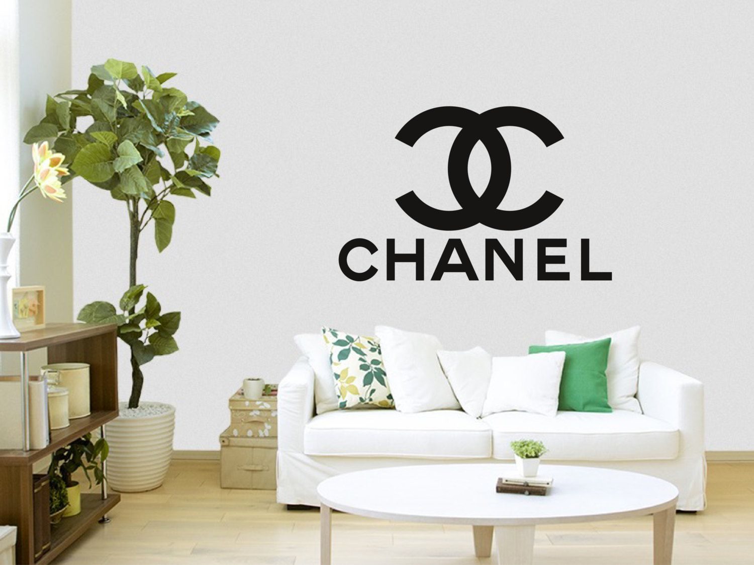 coco chanel logo with words wall sticker
