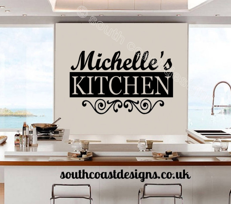 Decorative kitchen wall art with name for Black kitchen wall decor