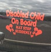 Disabled Child On Board with Autism Hearts